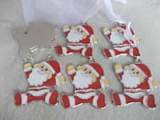 6 X LARGE  FATHER CHRISTMAS ENAMEL COATED CHARMS/PENDANTS - SANTA, XMAS CRAFT