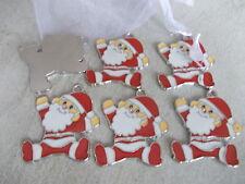 6 X LARGE  FATHER CHRISTMAS ENAMEL COATED CHARMS/PENDANTS - SANTA, XMAS CRAFT
