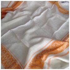 Vintage Crema y Naranja Satinado Damasco Mantel, Aprox. 130cm X 120cm