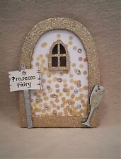 Prosecco Champagne Fairy Door - Wooden Embellished Glitter Fairy Faerie Elf Door