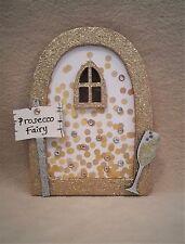 Prosecco Champagne Fairy Door - Wooden Embellished Glitter Fairy Faerie Elf Door