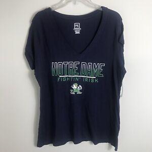 Notre Dame Lightweight V-Neck T-Shirt-Navy Blue-Fightin' Irish-Womens XL-NWT