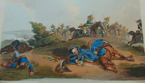 c.1815 - THREE  ANTIQUE BRITISH ARMY BATTLES HAND COLORED ENGRAVINGS - WATERLOO