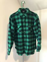 Woolrich VTG Plaid Wool Button Shirt Jacket Men USA Green Black Buffalo Medium M
