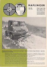 Steyr-Puch Haflinger 700 AP APL Accesorios 1963-64 mercado del Reino Unido Folleto de ventas
