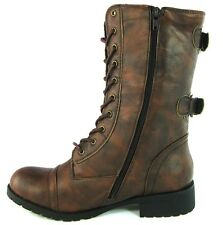 Womens Combat Military Boots Lace Up Buckle New Women Fashion Boot Shoes Size