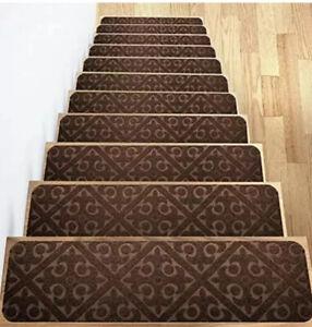 "13 Elogio Carpet Rug Stair Treads. 30"" By 8"" Non Slip Rubber Runner Mats, Brown"