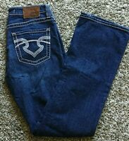 womens Big Star REMY embroidered thick stitch low rise 29L med blue jean VINTAGE