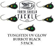 5 Pack UV Glow Tungsten Ice Fishing Jigs Crappie Bluegill 5mm (Burbot Black)