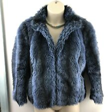 "Reiss Faux Fur Jacket. Size UK Large Blue. Model: ""Jillie"" RRP £245 Cheryl Cole"