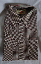 Nos Vtg Mens 80s Pearly Snap Gingham Check Slim Fit Western Shirt S Youngbloods
