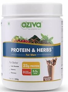 OZiva Protein & Herbs for Men, 16 Servings, Chocolate flavor - 500g