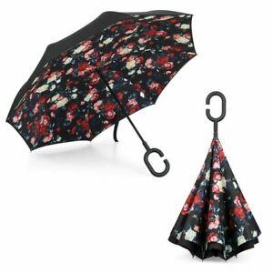 Inverted Upside Down Double Layer Windproof Floral Design Umbrella.UKSeller/