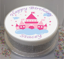 "Novelty Personalised Princess Castle 7.5"" Edible Icing Cake Topper birthday"