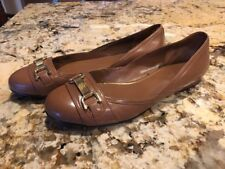 Lauren Ralph Lauren Brown Tan Leather Ballet Flats Shoes Gold Accent Size 6M