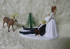 Wedding Deer Hunter Bow Hunting Cake Topper ~Red Hair on Bride - Blonde Groom~~