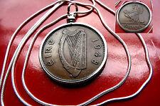 "1948  IRELAND GAELIC Bronze Harp Penny Bezel on a 30"" .925 Silver Snake Chain"