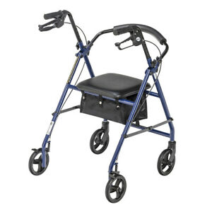 drive Rollator Adjustable Height Steel 32 to 37 Inch Handle Height R800BL