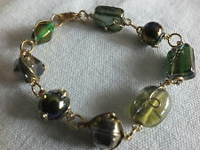 "Beautiful Clasp Bracelet Gold Tone Wire Wrapped AB Green Glass Beads 7 1/2"" NICE"