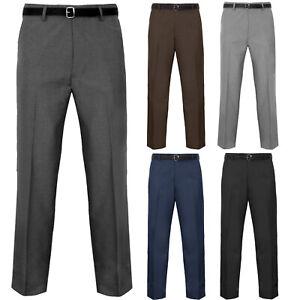 MEN TROUSERS OFFICE BUSINESS WORK FORMAL CASUAL SMART BIG PLUS BELT POCKET PANTS