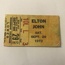 Elton John Richmond Coliseum Virginia Concert Ticket Stub Vintage September 1973