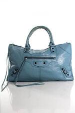 Balenciaga Light Blue Leather Moto Classic City Tote Handbag