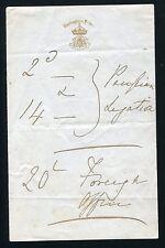 FINE HAND WRITTEN NOTE BY QUEEN VICTORIA ON BUCKINGHAM PALACE LETTERHEAD