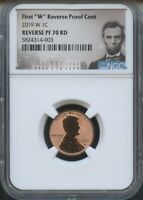 """2019 W First """"W"""" REVERSE Proof Cent NGC PF70 RD Portrait"""