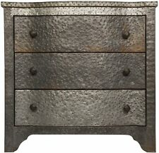 """30"""" W Set of 2 Side Table Three Drawers Textured Zinc Wood Modern Industrial"""