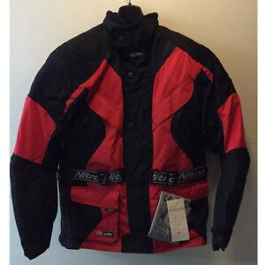 CHEAP SALE NITRO N75 BLACK RED TEXTILE TOURING MOTORCYCLE MOTORBIKE JACKET XS