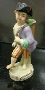 VICTORIAN EUROPEAN HAND PAINTED SIGNED PORCELAIN FIGURE OF A MAN 5.6 Inch