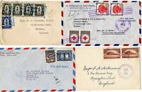 ! 1923/55 HONDURAS x 4 COVERS TO KENT & LEEDS UK AND USA  1 WITH RE-USED STAMPS?