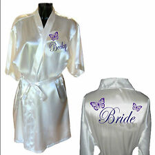 Personalised Butterfly Wedding Robe / Dressing Gown Ideal for Bride Bridesmaid