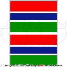 """GAMBIA Flagge Gambische Fahne AFRIKA Vinyl Sticker, Aufkleber 75mm (3"""") x2"""