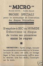 Publicité Notice MICRO Brosse Nettoyage Entretien Disques Microsillons_version 1