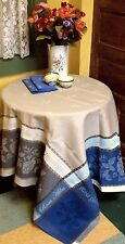 FRENCH JACQUARD PROVENCAL TABLECLOTH 'Rosa' 75x60  beige-blue- grey
