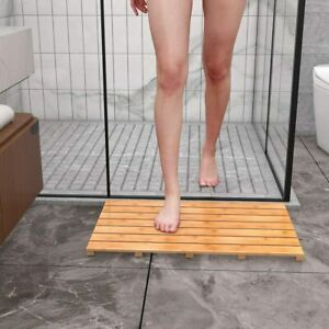 Bamboo Floor & Bath Mat Wood Shower Spa Anti Slip Wood Pad Durable Home Decor