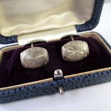 ANTIQUE Vintage 14K WHITE GOLD DECORATIVE DOUBLE SIDED CUFFLINKS Orig BOX