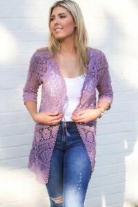 Mila Crocheted Cardi - Lilac or Yellow