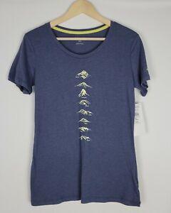 Columbia NWT Women's Blue Graphic Short Sleeve Mountains Tee Shirt Size Medium