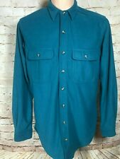Cabela's Button Front Teal Long Sleeve Mens Shirt LT Made In USA Vintage