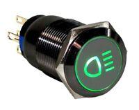19mm Marine Grade Black Stainless Steel Button Green LED Car FOG Light Switch US