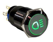 Grado Marino 19 mm negro acero inoxidable botón verde LED de luz de niebla del coche interruptor de Estados Unidos