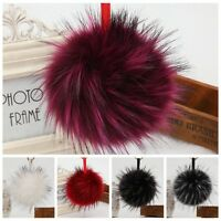 Fluffy Large 13cm Faux Fox Fur PomPom Ball Handbag Pendant Keychain Key Ring