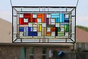 """""""Color Connection""""Beveled Stained Glass Window Panel ≈ 28 1/8x16 1/2"""