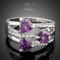 Platinum Plated Silver Purple Heart Made With SWAROVSKI Crystal Ring R266-18