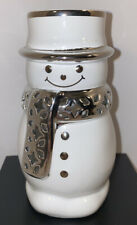 "Slatkin & Co Ceramic Snowman Home Fragrance Oil Warmer White Silver 5 1/2"" Cute!"