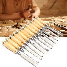 AU 12Pcs Wood Carving Chisel Tool Set Woodworking Carbon SteelCarft Gouges Kit