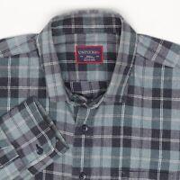 Untuckit Mens Flannel Shirt S Seafoam Blue Gray Plaid Cotton Button Front