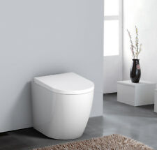 Modern Back To Wall Toilets WC with Soft Close Seat Gloss White Rimless Bathroom